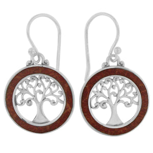 925 Sterling Silver - Coral Tree of Life Earrings