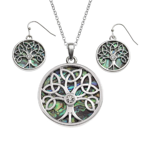 BellaMira Abalone Tree of Life Celtic Earrings & Necklace