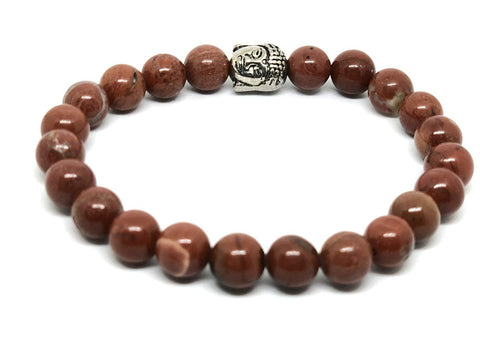 'Healing & Compassion' Genuine Red Jasper Buddha Bracelet Gemstones Ethically Sourced ~ Charka Healing Yoga Meditation Jewellery ~ Gift Boxed … (Buddha Bracelet)