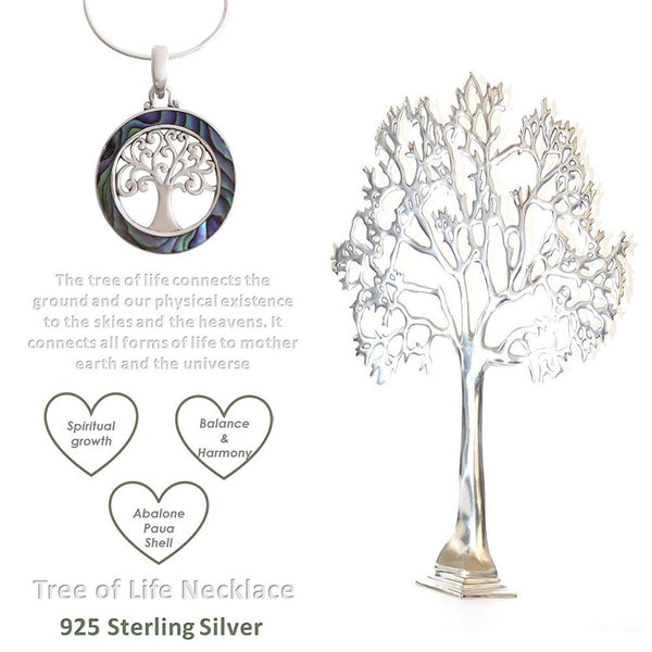925 Sterling Silver - Abalone Shell Tree of Life Necklace
