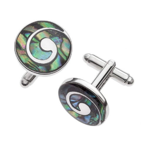 'Love You Forever' Silver Celtic Infinity Cufflinks Bookmark Letter Opener Abalone Paua Shell Ethically Sourced From New Zealand Elegant Gift Set In Retail Gift Box (Koru Fern Cufflinks)
