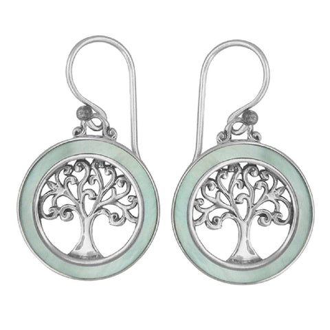 925 Sterling Silver - Mother of Pearl Tree of Life Earrings