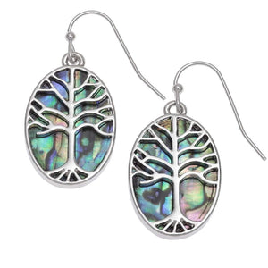BellaMira Abalone Paua Shell Tree of Life Earrings
