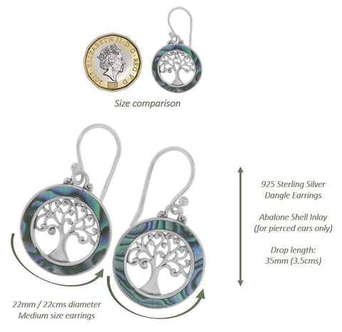 925 Sterling Silver - Abalone Shell Tree of Life Earrings