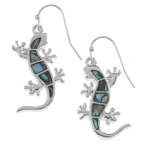 Abalone Paua Shell Gecko Silver Earrings (20mm) inlaid with Blue Green shdes of Natural Paua Shell by BellaMira