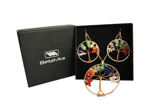 BellaMira 7 Chakra Rose Gold Necklace & Earrings Natural Stones Jewellery Set
