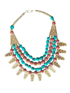 'Cleopatra' Coral Turquoise Statement Necklace