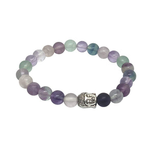 'Body Mind and Soul' Multi Flourite Buddha Bead Bracelet