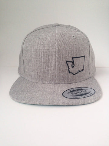 PNW - Heather Gray, Flat Brim Hat (snapback)