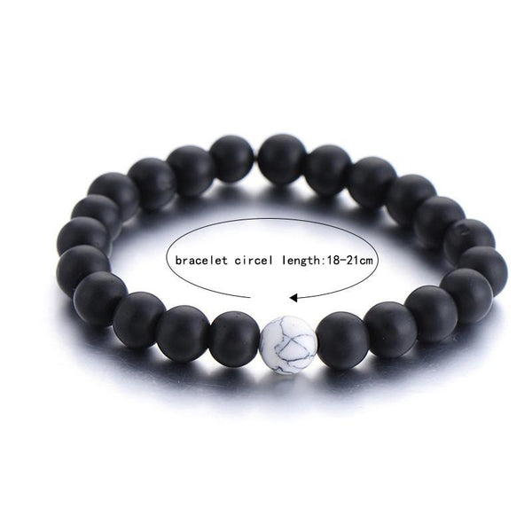 Black Matte Agate & White Howlite Couple Distance Bracelet