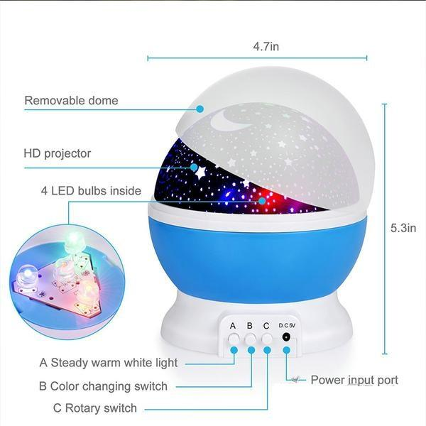 Moon and Stars Rotating Night Lamp Projector