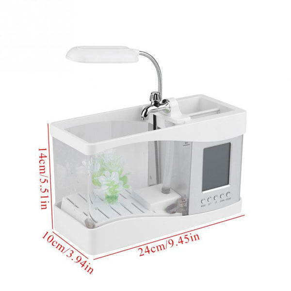 USB Mini Aquarium with LED Lamp and LCD Clock