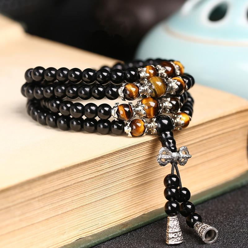 108 Black Crystal with Tiger Eye Prayer Beads Mala