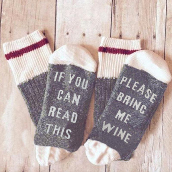 "Novelty ""Bring Me Wine"" Socks"