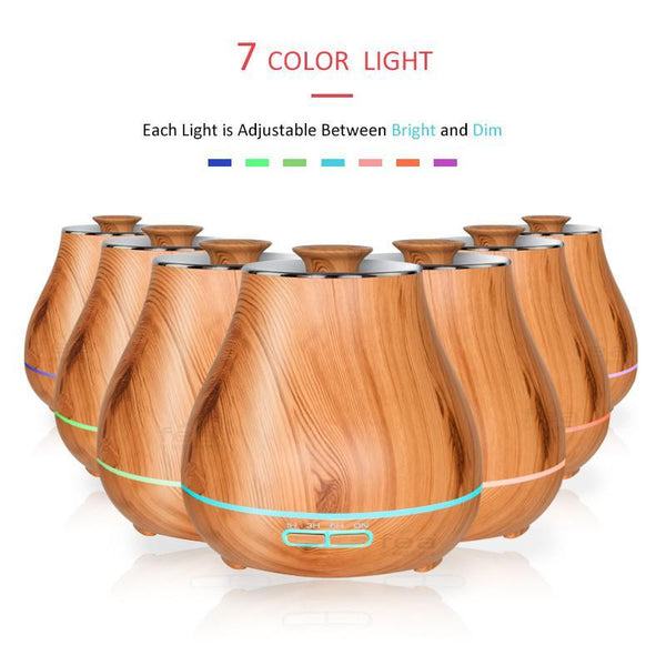 400ml Wood Grain Chrome Top Aroma Diffuser
