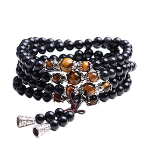 Black Tiger Eye Crystal Tibet Mala Bracelet/Necklace