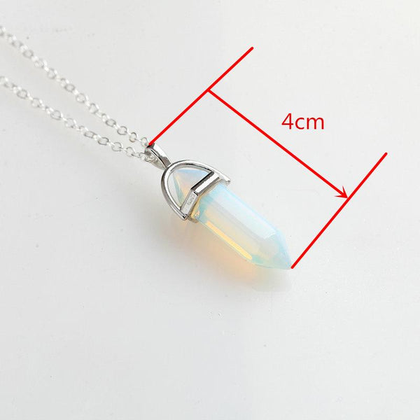 Hexagonal Column Crystal Necklace Pendants