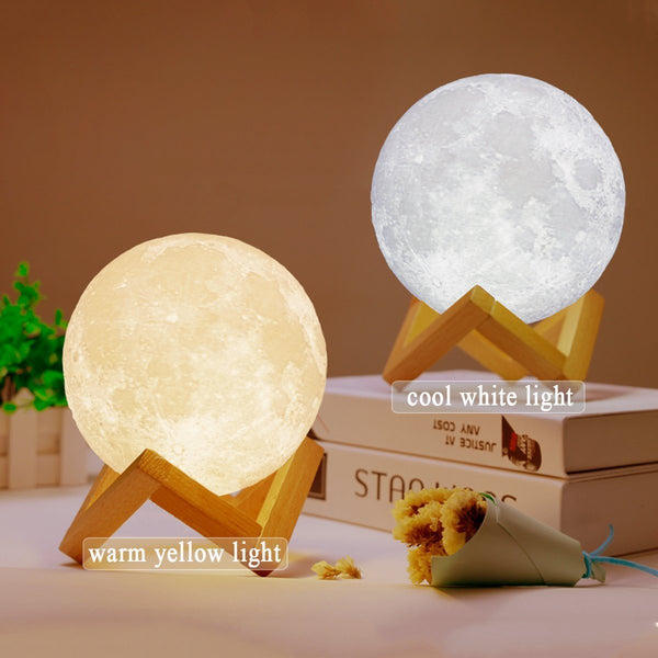 3D Printed Moon LED Night Lamp