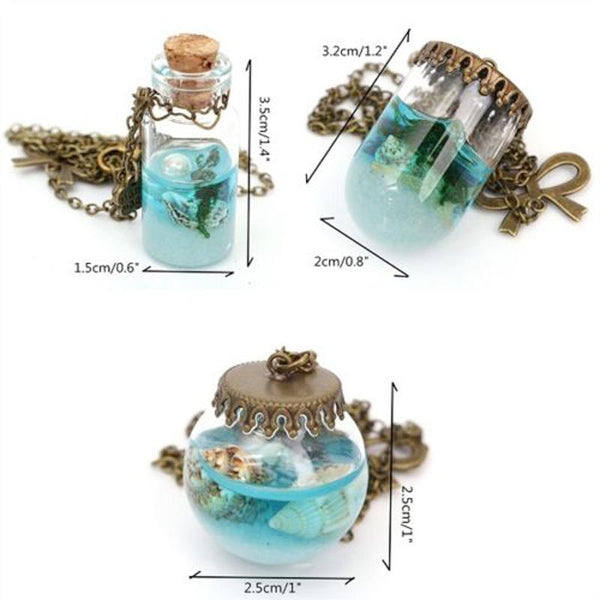 Blue Sea Ocean Glass Wish Bottle Necklaces & Pendants