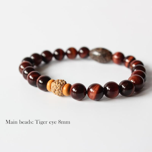 Red Tiger Eye Stone Beads Rudraksha Stretch Bracelet