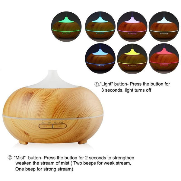 300ml Wood Grain LED Diffuser