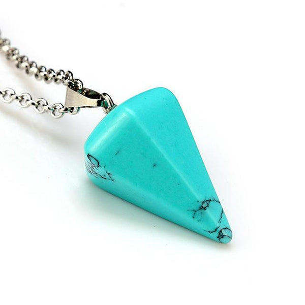 Natural Crystal Stone Cone Necklace Pendant