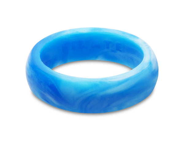 FX8 Stealth Women's Silicone Ring | White/Blue Marble