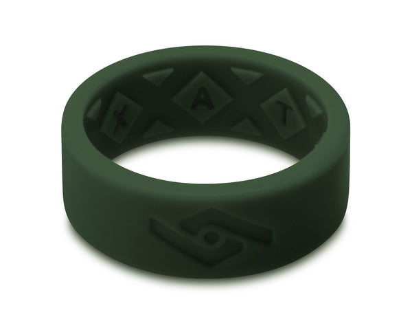 X-Vent Flattop Men's Silicone Ring | Emerald