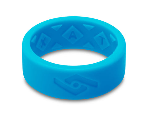X-Vent Flattop Men's Silicone Ring | Neon Blue
