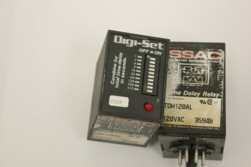 (2) SSAC Digiset TDM120AL Time Delay Relay 120 VAC