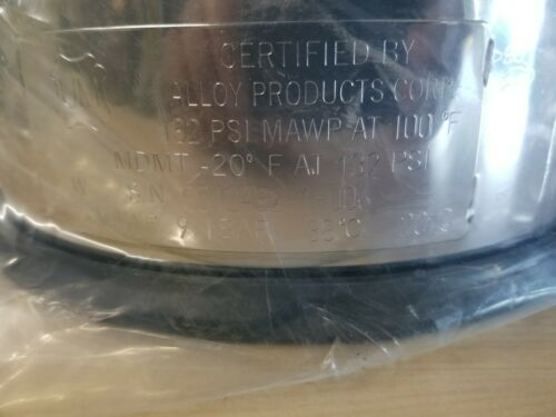 New Alloy Products 316L Stainless Steel Pressure Vessel 132psi MAWP @100°F