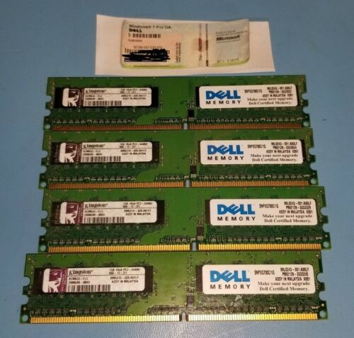 4x1GB DDR2 PC2-6400U Kingston with Windows 7 PRO OA License Key