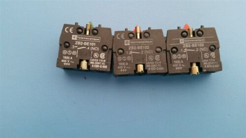 3 TELEMECANIQUE CONTACT BLOCKS ZB2-BE101/BE102