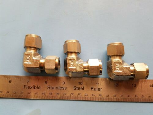 "3 SAFELOK 316 SS 1/2"" TUBE FITTING ELBOWS COMPRESSION"