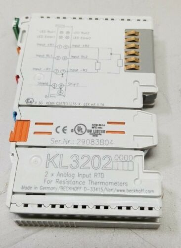 BECKHOFF KL3202 2 CHANNEL ANALOG INPUT TERMINAL RTD FOR RESISTANCE THERMOMETERS