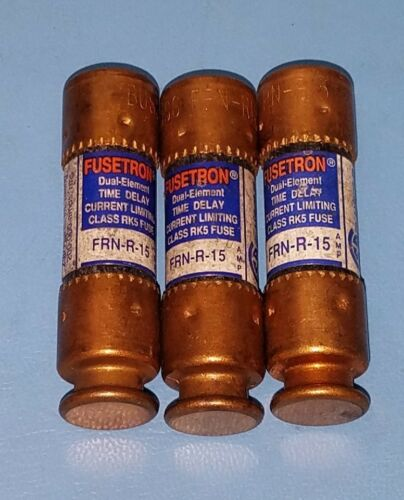 (3 Pcs) Buss Fusetron Frn-r-15 Fuses Dual Element Time Delay
