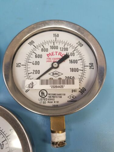 (3) Metro 300PSI Pressure Gauge for Fire Protection Service W101