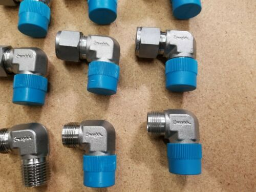 "12 New Swagelok Stainless Steel Elbow Tube Fittings SS-810-2-8 1/2""x1/2""mnpt"