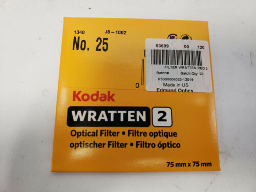 4 Kodak Wratten 2 No.25 Red Optical Filters 75mmx75mm
