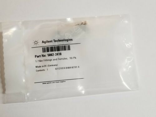 10/pk New Agilent 1/16in Fittings & Ferrules 5062-2418