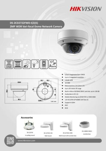 Hikvision DS-2CD2722FWD-IS WDR Vari-Focal Dome network Security Camera PoE