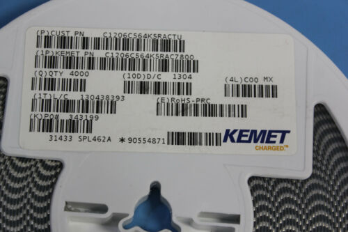 4000Pcs Kemet C1206C564K5RAC7800 Multilayer Ceramic Capacitor