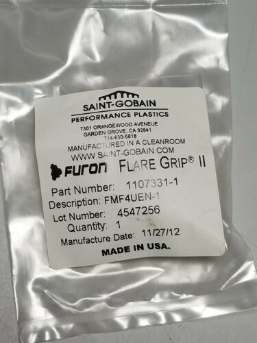 "New Saint-Gobain Furon Flare Grip II 1/4"" Union Elbow PVDF Fitting FMF4UEN-1"