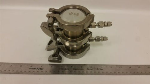 2 Section Stainless Steel Hi Purity Assembly W/clamps/ends Caps Flanges Fittings