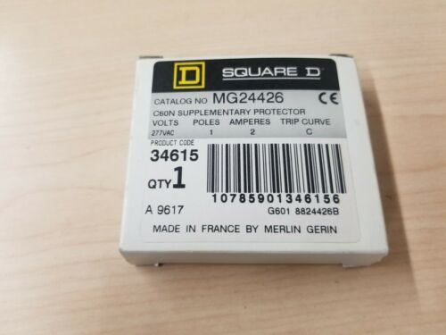 New Square D C60N Supplementary Protector Circuit Breaker MG24426 277VAC 2A