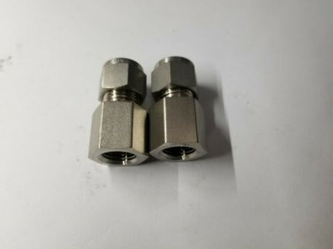 2 New Swagelok Stainless Steel Female Connector Fittings 3/8x1/4 SS-600-7-4