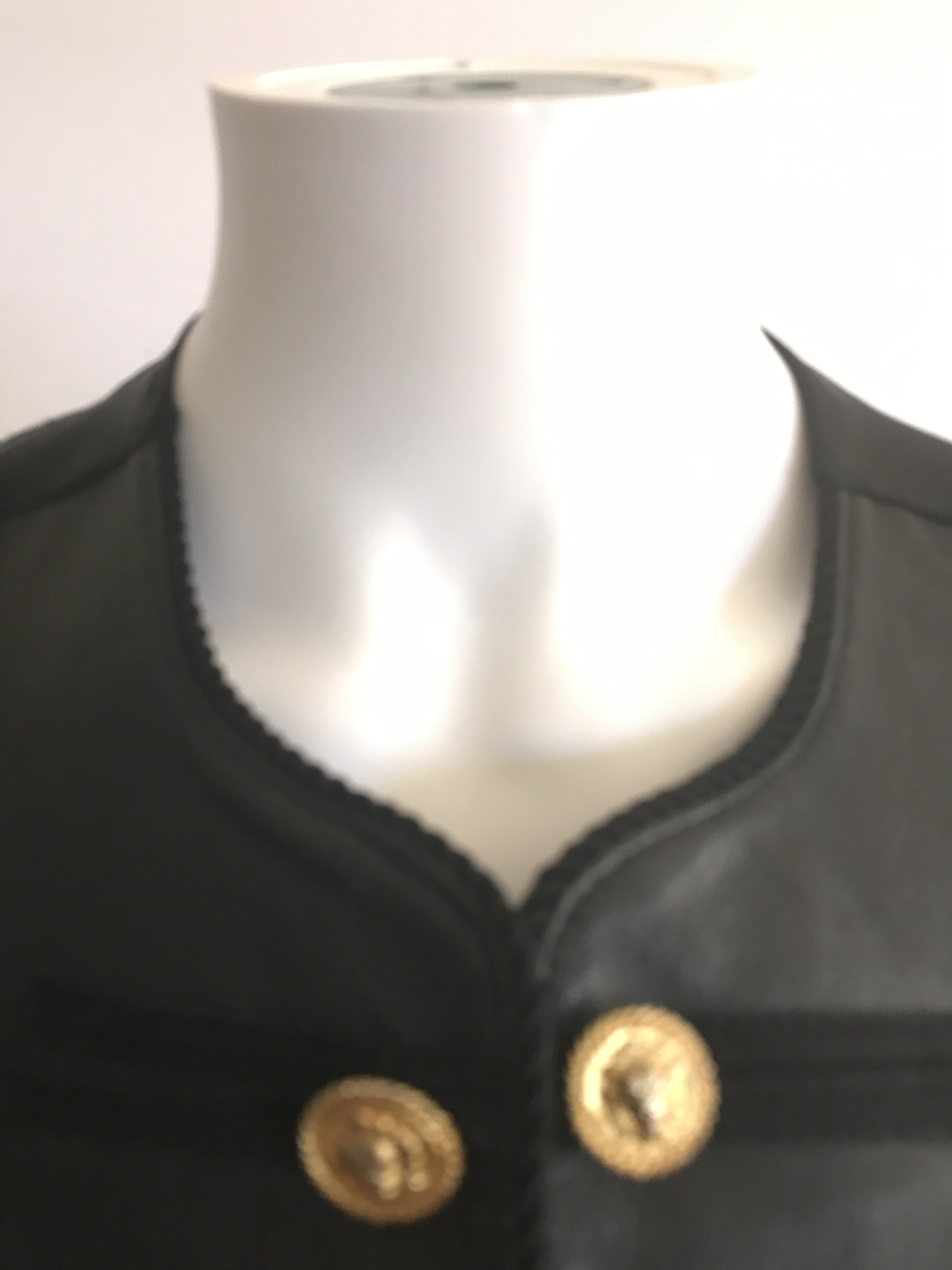 Vintage 80s Military Style Gold Buttons Leather Vests - BAD HABIT