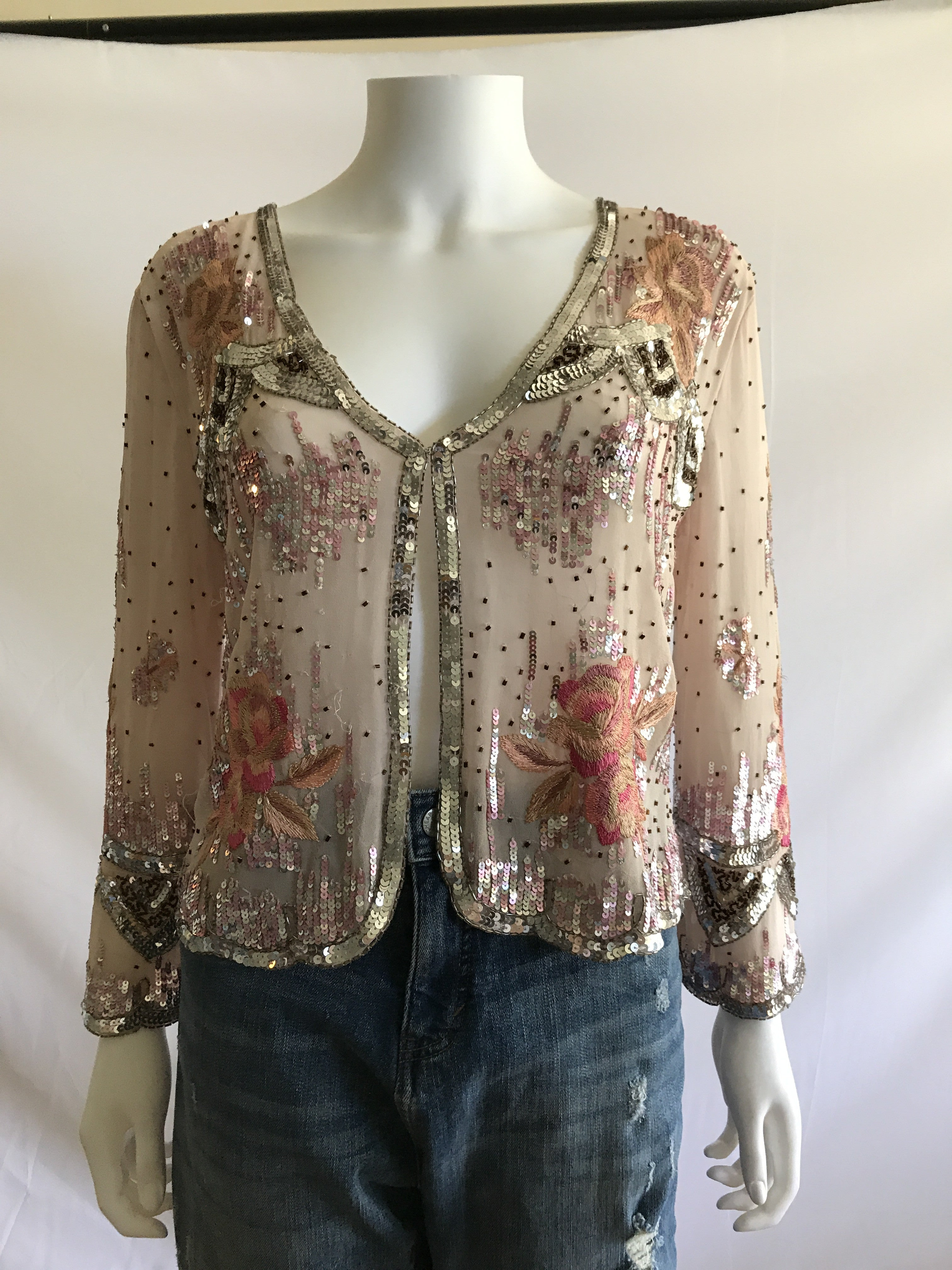 Vintage 70s Jewel and Beads Adorned Embroidered Pink Jackets Cardigans - BAD HABIT