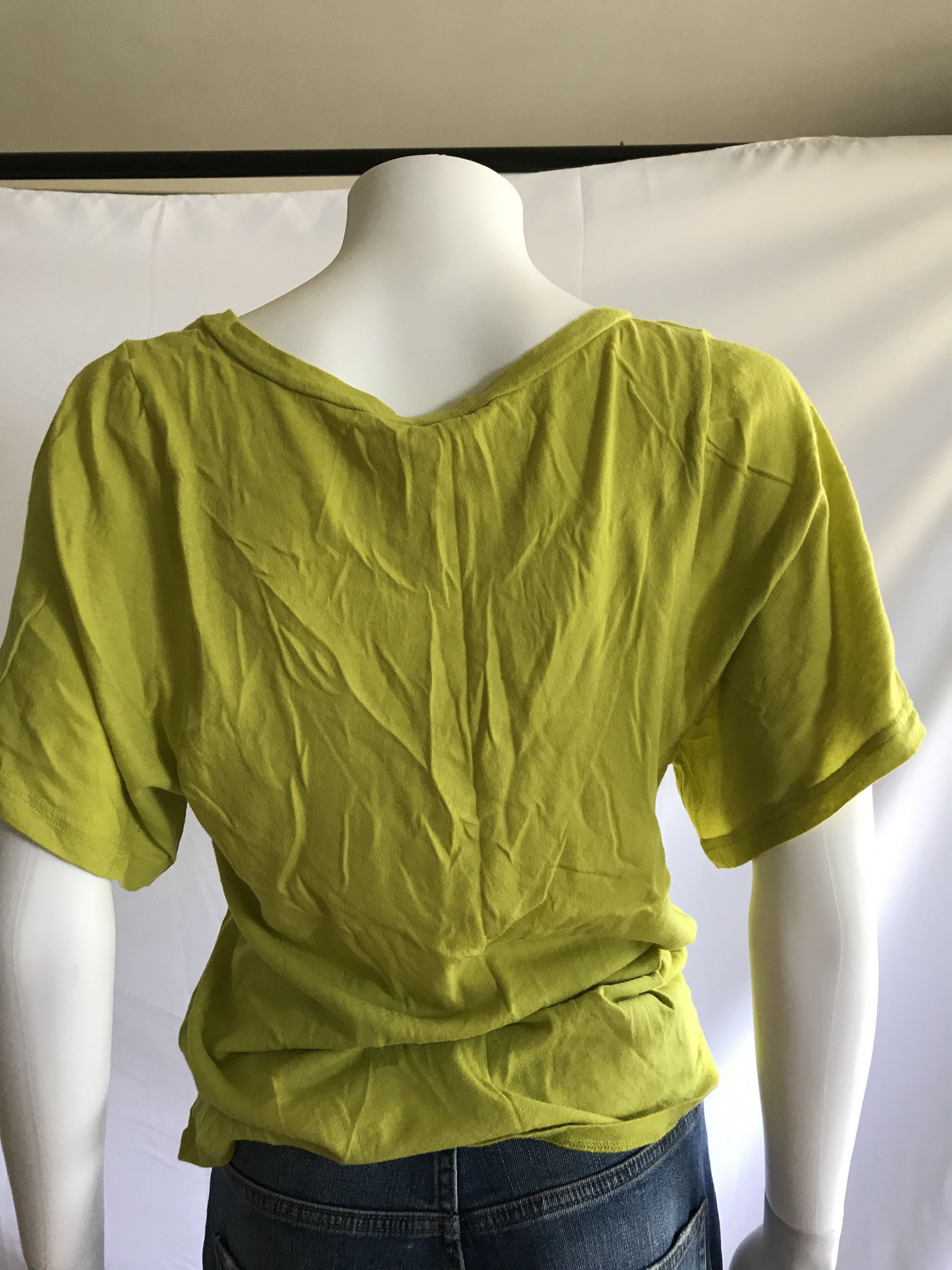 Vintage early 2000s Frenchi Lime Green Deep V neck T-Shirts - BAD HABIT
