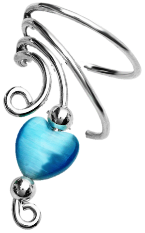 Blue Cat's Eye Heart & Beads Short Sterling Silver Ear Cuffs Earrings
